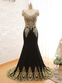 Long Black And Gold Prom Dress | www.imgkid.com - The ...
