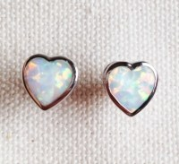 Heart Shaped Blue / White Fire Opal Earrings -in Stud ...