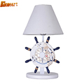 HGhomeart Mediterranean Table Led Lamp E27 110V 220V Switch Button Wooden Desk Lamp Bedroom Light Romantic