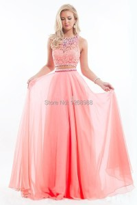 Hot selling 2 Piece Pink Long Prom Dresses Sheath High ...