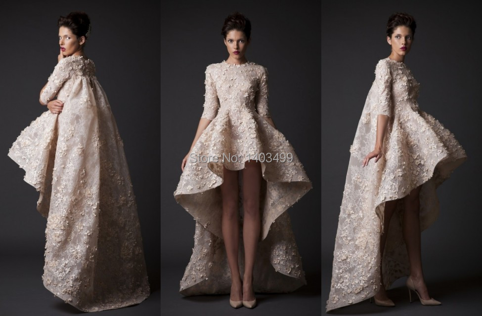 High Low Wedding Dresses Gown Turtleneck Half Sleeve Lace