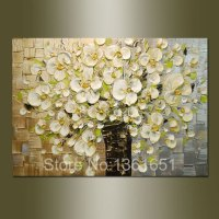 100% hand painted oil painting abstract art wall gold and ...