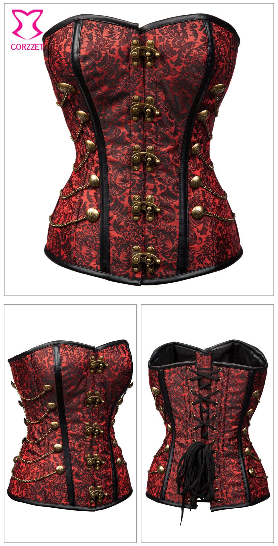 ≧gothic steel boned overbust corset halloween costumes burlesque