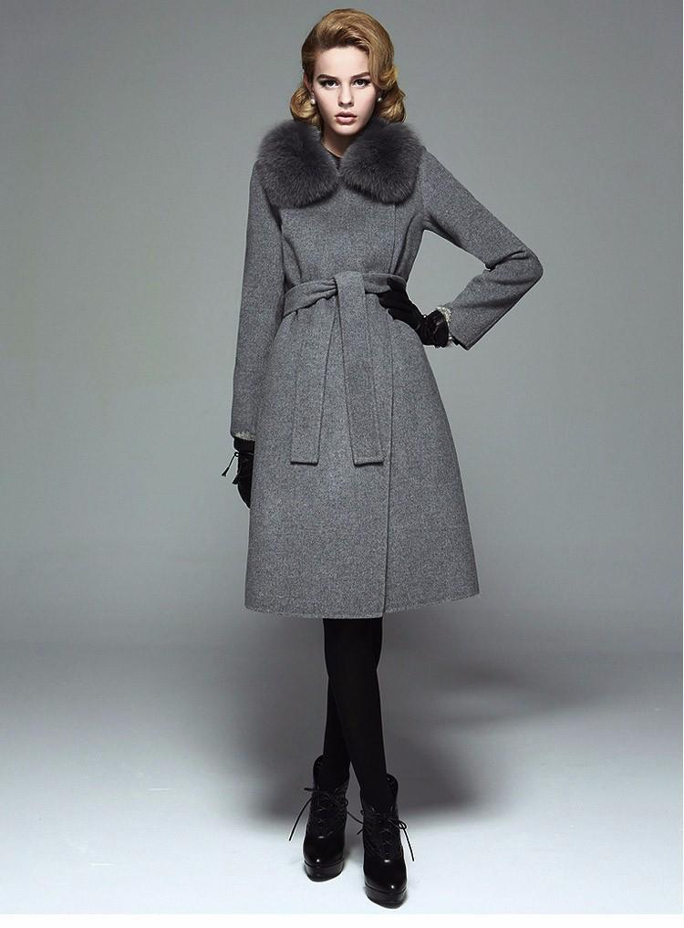 7b8cc5b3d2e8 Ремень тонкий лисий мех воротника женские зимние куртки и пальто Шерсть  манто Femme женские кашемировые пальто длинное кашемировое пальто с м.