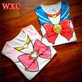 Sailor Moon Shirt Anime Chibimoon Summer Harajuku Shirt Kawaii Printed Women s Clothing 2016 Girls Peplum