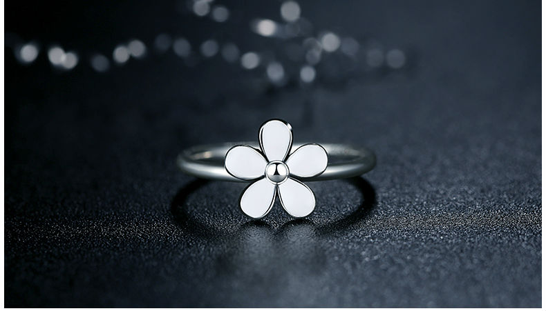 Blume 925 Sterling Silber Liebling DAISY Stapelbar RING Weiß Emaille ...