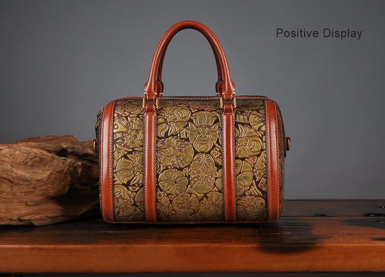 96f184f5d037 Latest Leather Bags Women Handbag 2018 Rock Style Rivet Shoulder Bag Cello  Pattern Handmade Genuine Leather Crossbody Bag