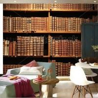 Custom 3D murals,wooden bookshelf with antique books ...