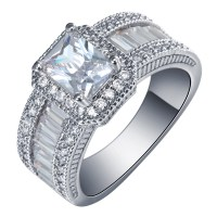 2016 Square promise Rings platinum plated new silver ...