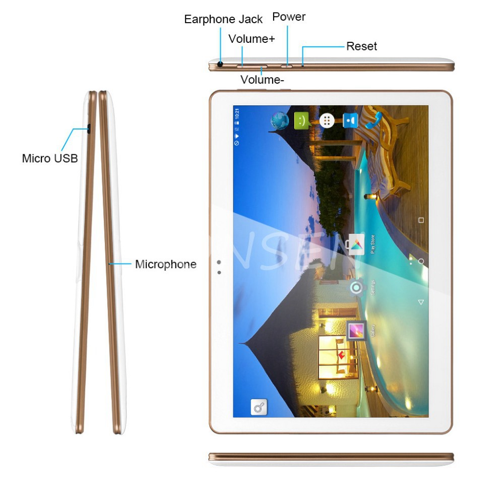 החדש 10.1 אינץ אנדרואיד Tablet PC 6.0 כרטיסיית פנקס IPS 1280x800 Quad Core 1GB RAM 16GB Dual SIM 3G טלפון 10.1