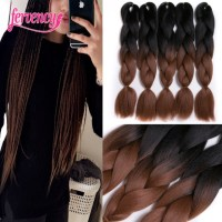 Ombre Braiding Hair brown two tone 24inch High Temperature ...