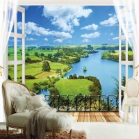 Custom Any Size Nature Landscape Window 3D Wall Mural ...