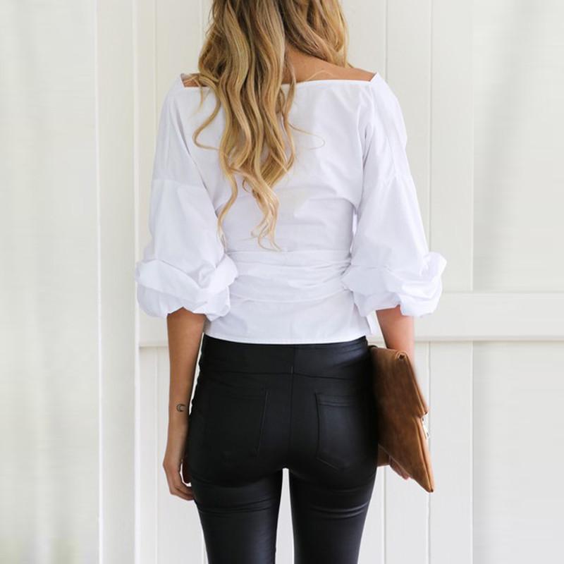ᗕMulheres Moda Branco Ruffles Blusa Decote Em V Senhoras Elegantes ... d6daf10d920b4