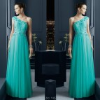 One Shoulder Turquoise Prom Dresses 2015