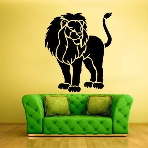 ⃝Наклейка на стену винил Стикеры лев тигр кошка животное ...