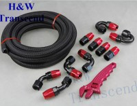 AN8 Steel Nylon Braided OIL FUEL Line Fitting Hose End AN ...