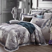 Luxury jacquard king queen size bedding set quilt duvet ...