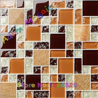 dark brown and ice crackeld glass mosaic tiles for crafts ...