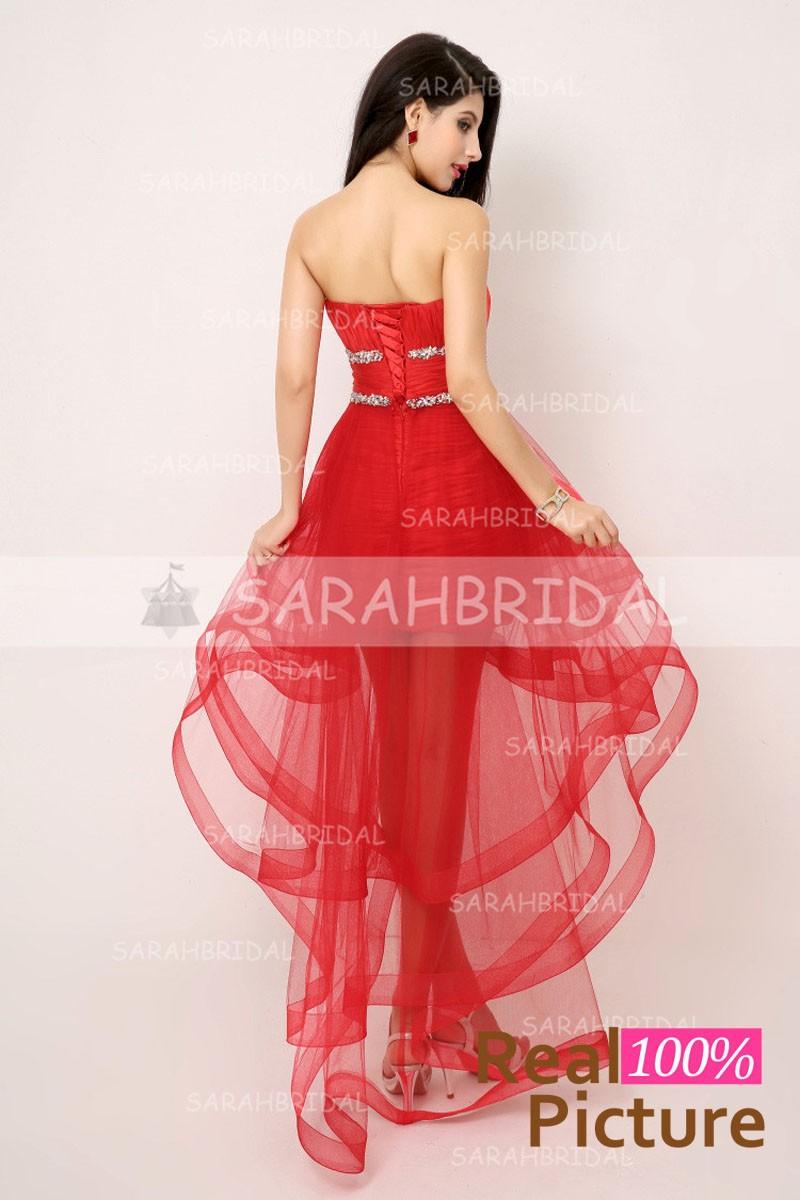 Auf Lager High Low Sexy Red Prom Kleider 2017 Schatz tüll ...