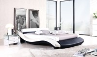 Modern Bed, French Modern Design, Top Grain Leather, King