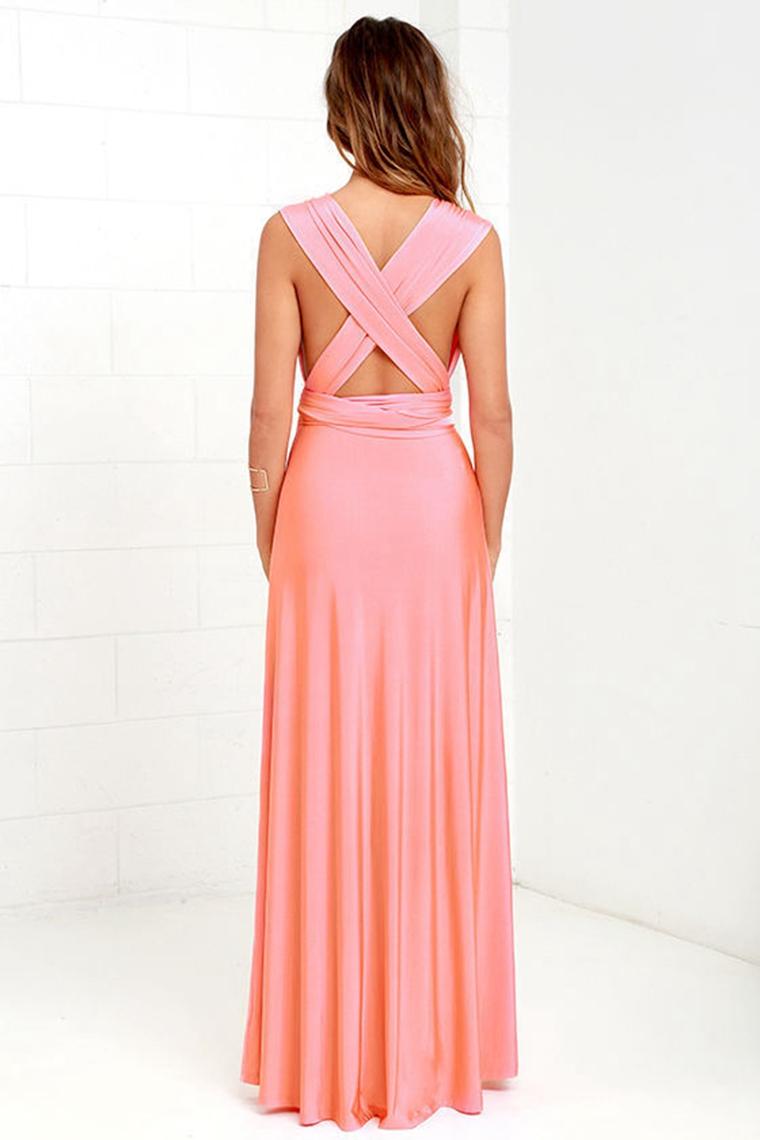 ⊰13 color verano sexy mujeres Maxi vestido rojo vestido largo ...