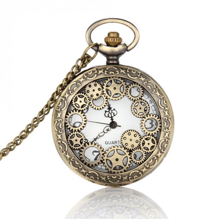 bb72a222935 Design Retro Relógio de Bolso Oco Engrenagem Relógio de Bolso Do Vintage  Bronze Relógio de Bolso Colar de Pingente Cadeia Cingida Por Mulheres Homens  LL ...