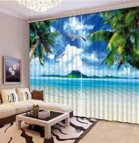 Curtains for living room Curtain window room beach 3d ...