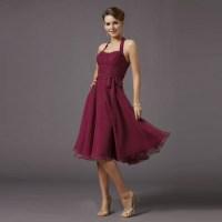 Cheap Wine Red Short Bridesmaid Dresses 2016 Knee Length ...