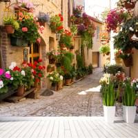 European Street Scenery Custom Mural Wallpaper Flower Full ...