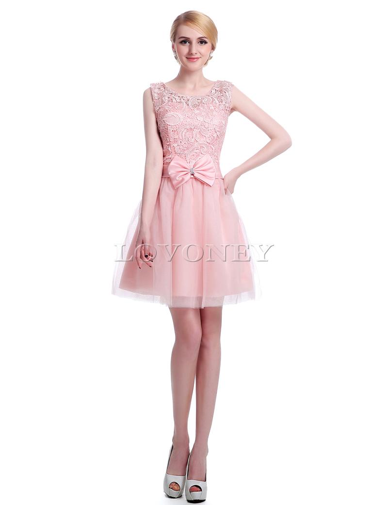 ∞S011 sexy a-line Encaje corta Vestidos de dama de honor con arco ...