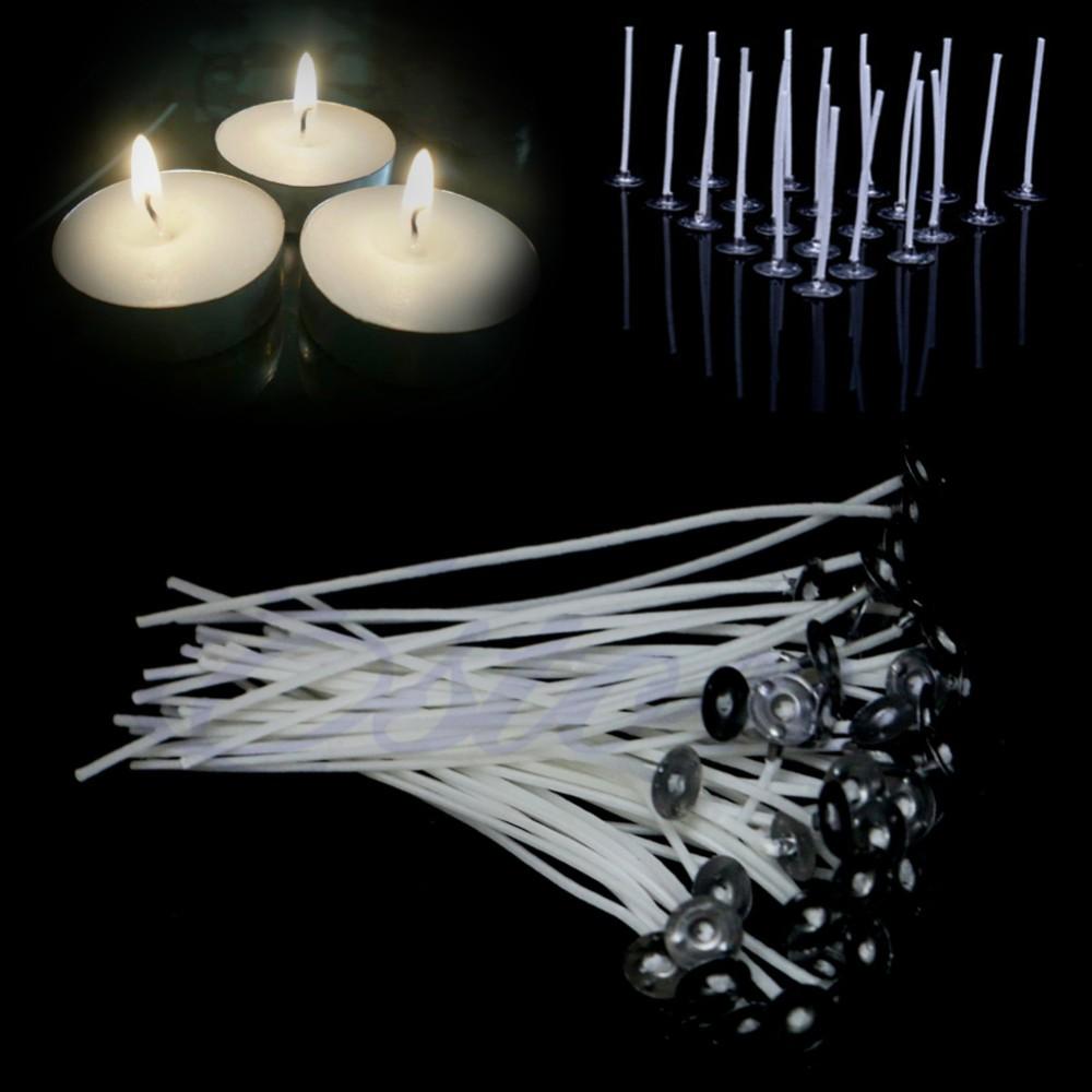 20 x 220 mm de long pré ciré mèches pour candle making avec souteneur/'s