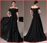Black Off Shoulder Evening Dress