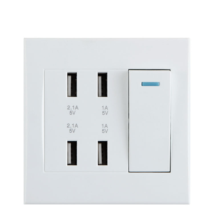 Universal 4 Ports USB Wall Socket With Power Switch&LED