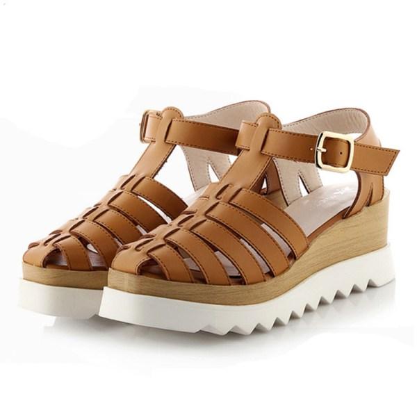 2016 Women Gladiator Sandals Closed Toe Summer Platform