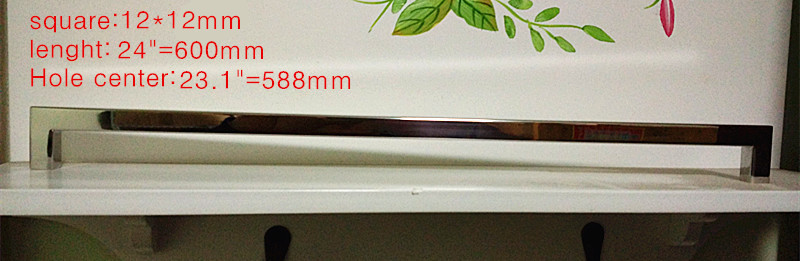 Length 600mm 12 12mm Square Bar Door Handle Mirror Stainless