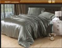 Luxury Silver grey silk satin bedding comforter set king ...