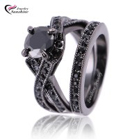 black Cubic Zirconia Black Plated Women's Black Gold ...