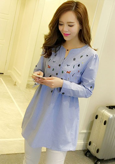 Plus Size Maternity Blouses Shirts For Pregnant Women Long Sleeved
