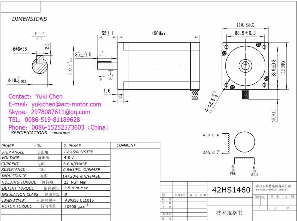 ≧Great Motor! ACT Motor 2PCS Nema42 Stepper Motor 42HS1460 150mm 6A ...