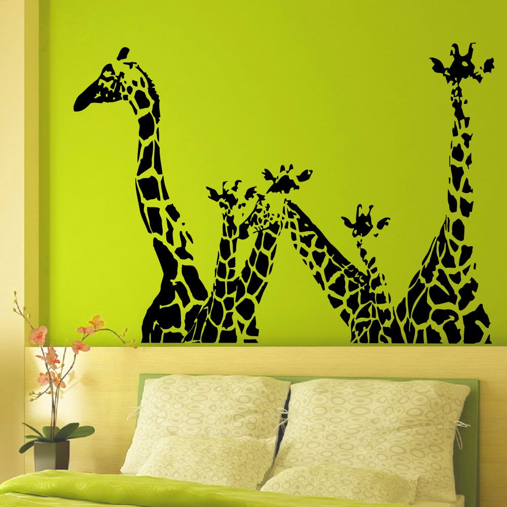 ᗖAnimaux Giraffe vinyle stickers muraux girafe Jungle Safari