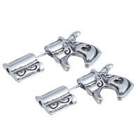 15 Pairs/Lot Pistol Stud Earrings 3D Gun Stud Earrings for
