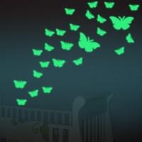 12pcs/set Butterfly Luminous Stickers Decorative Wall ...