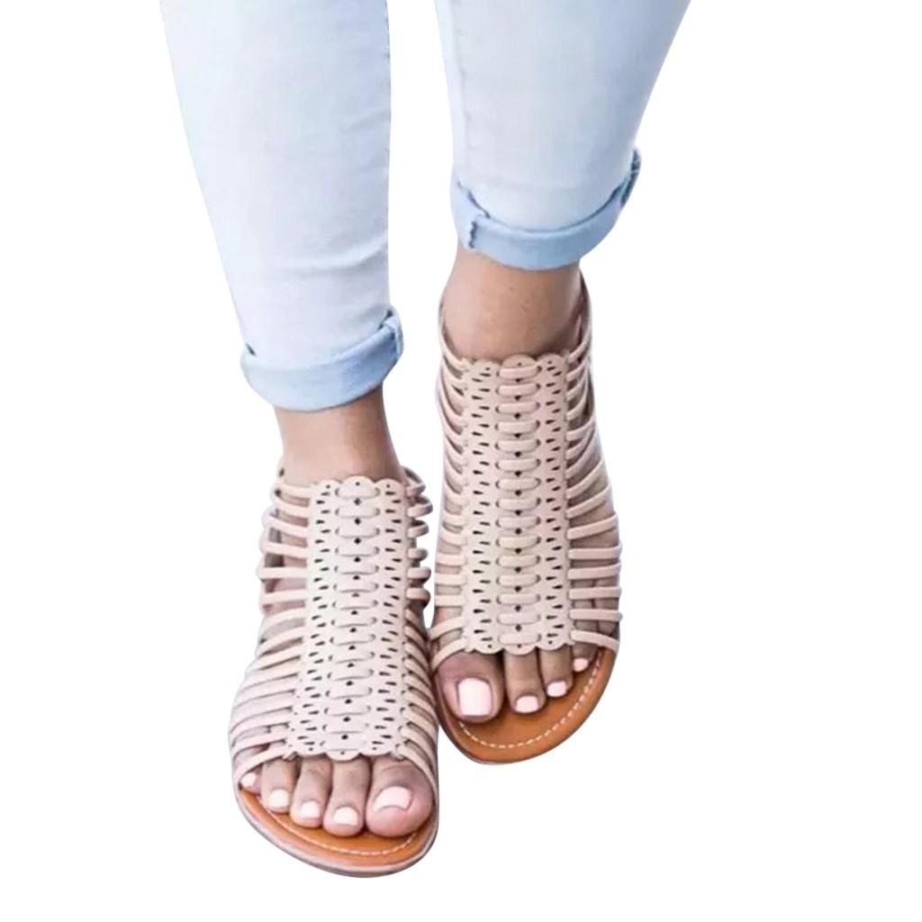 Las Mujeres Moda Sandalias Señoras Zapatos De Planos rCBeodxW
