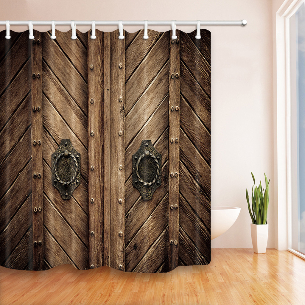 lowest price drop shipping polyester shower curtain fabric home bathroom curtains with rustic farmhouse wooden door style 3d shower curtains aliexpress