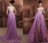 Purple Long Sleeve Lace Prom Dress