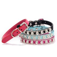 1PCS Rhinestone Dog Collar For Small Dogs PU Leather