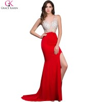 Grace Karin Beaded Sequin Long Red Mermaid Backless ...