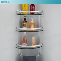 Aluminum 3 tier glass shelf shower holder bathroom ...
