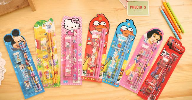 2619712697_1758922470  10packs/lot 5 in One Disny Mickey Snowwhite Kitty Pencil Writing Pen Stationery Kits Children Birthday Occasion Favor Take-home Items HTB1m1C1NpXXXXazXVXXq6xXFXXXU