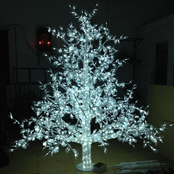 White Christmas Tree with LED Lights Outdoor